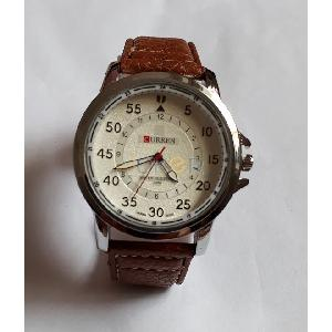 Montre simili cuir marron