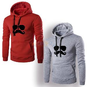 Lot de 2 sweaters avec capuche gris et rouge Moustache by Chipie Bleue
