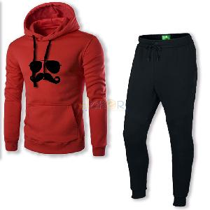 Mr moustache sweater a capuche rouge et pantalon noir