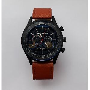 montre homme simili cuir marron